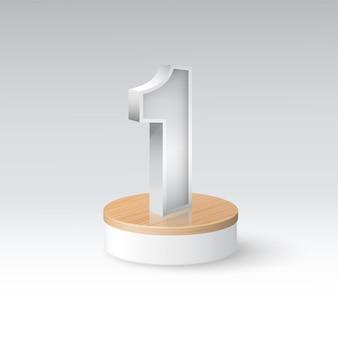Nummer eins auf dem podest mit dem eleganten weißen hintergrund