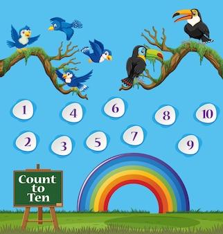 Nummer eins bis zehn mit blauem himmel und buntem regenbogen