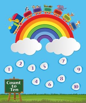 Nummer eins bis zehn mit blauem himmel und buntem regenbogenhintergrund