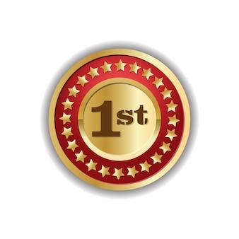 Nummer eins erster platz goldene medaille abzeichen design