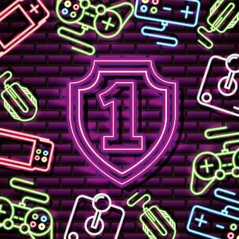 Nummer eins und schild im neonstil, videospiele im zusammenhang