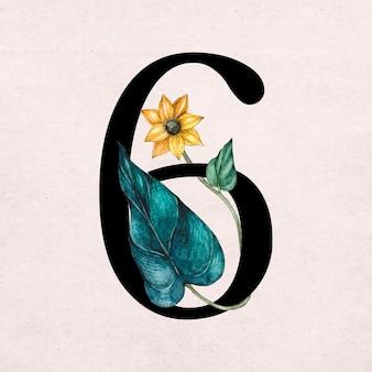 Nummer mit schriftart vintage serifenschrift