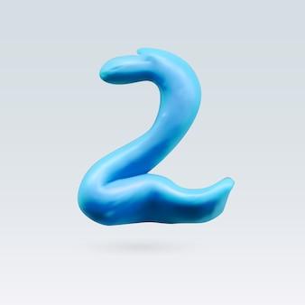 Nummer zwei blaue farbe auf hintergrund isoliert