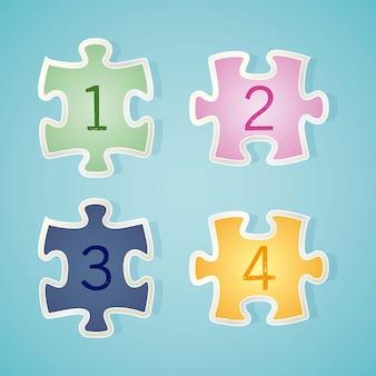 Nummeriert ikonen auf puzzlespielstück vektorillustration
