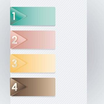 Nummeriert ikonen mit retro- farbenvektorabbildung