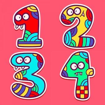 Nummerierte doodle kawaii monster design-vorlage