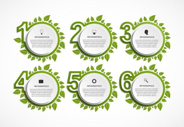Nummerierte infografik mit grünen blättern.