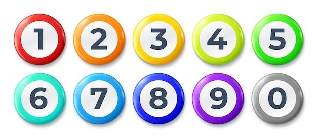 Nummerierte listenmarkierungen schrittpunkt-aufzählungszeichen runde schaltflächen mit unterschiedlichen farben und zahlen