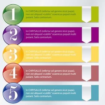 Nummerierung in farbigen kreisen ideal für infografiken, stilvolle grafiken und histogramme