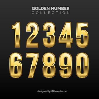 Nummernsammlung mit goldenem stil