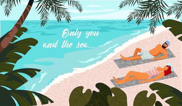 Nur du und das meer. paar nimmt auf dem strand in den tropen ein sonnenbad horizontale illustration