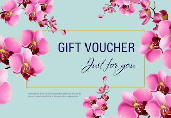 Nur für Sie, Geschenkgutschein mit rosa Blumen und Rahmen auf hellblauem Hintergrund.