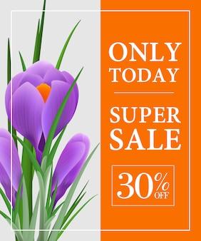 Nur heute, super sale, dreißig prozent rabatt auf poster mit violettem schneeglöckchen