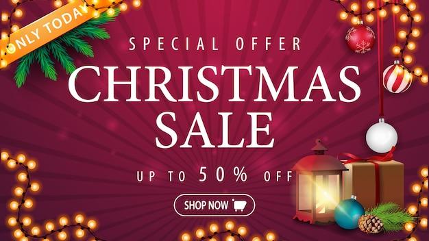 Nur heute, weihnachtsverkauf, bis zu 50% rabatt, lila rabatt-banner