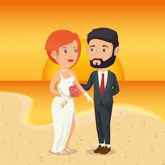 Nur verheiratetes paar am strand