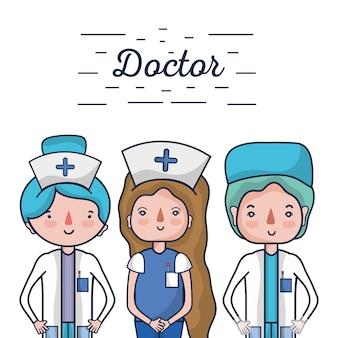 Nurser mit professionellen spezialisten des doktors