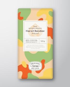Nuss-schokoladen-label abstrakte formen vektor-verpackungs-design-layout mit realistischen schatten moderne ty ...
