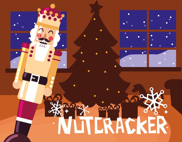 Nussknackerkönig mit baumweihnachten