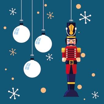 Nussknackersoldatspielzeug mit bällen von weihnachten
