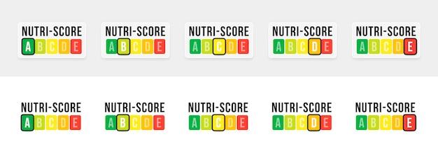 Nutri-score-system in frankreich. unterzeichnen sie das gesundheitswesen für die verpackung. vektor