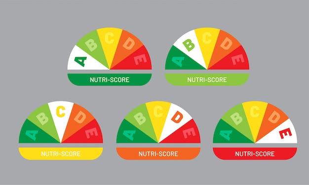 Nutriscore aufkleber gesetzt. nutri-score-systemzeichen. gesundheitssymbol für verpackungsdesign