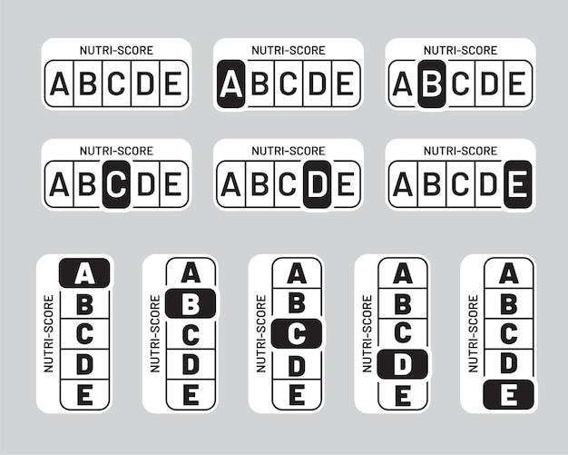 Nutriscore schwarz-weiß-aufkleber gesetzt. vertikales und horizontales monochromes nutri-score-systemzeichen. symbol für gesundheitsverpackungssymbole