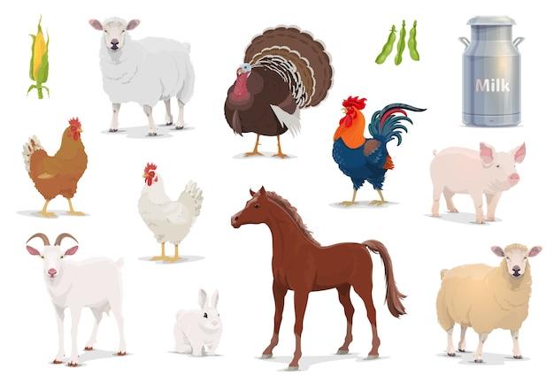 Nutztiere cartoon schafe, truthahn und hahn, schwein, ziege und pferd mit huhn und kaninchen.