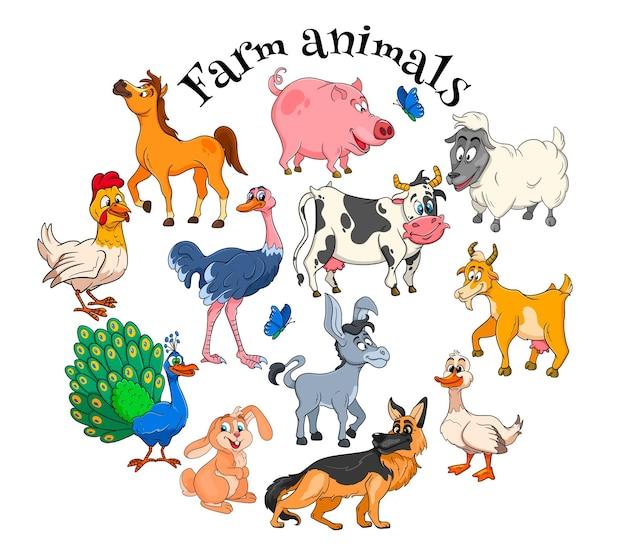 Nutztiere charaktere große reihe von cartoon ländlichen tieren. pferd, schwein, ente, huhn, hase, strauß, kuh, ziege, pfau, esel, schaf, hund. kinderillustration. zur dekoration und gestaltung.