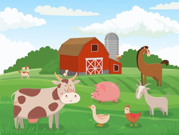 Nutztiere. dorftierfarmen, rote scheune der kühe und karikaturillustration der viehfeldlandschaft