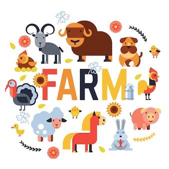 Nutztiere setzen inländische landwirtschaftliche charaktere kuh und schaf, schwein, truthahn, hund, pferd und katze landwirt tierillustration