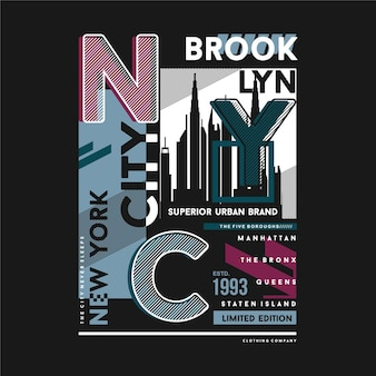 Nyc, brooklyn, new york city typografie für t-shirt-druck