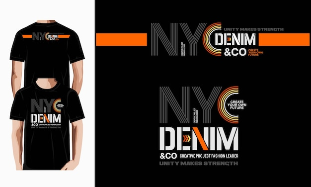 Nyc denim typografie t-shirt design