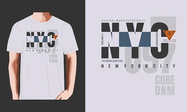 Nyc typografie t-shirt design illustrationsprämienvektor premium-vektor