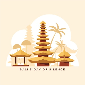 Nyepi-illustration mit denkmal