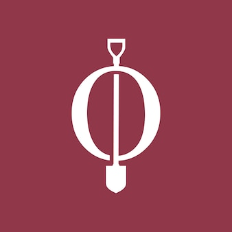 O brief schaufel spaten logo vektor icon illustration