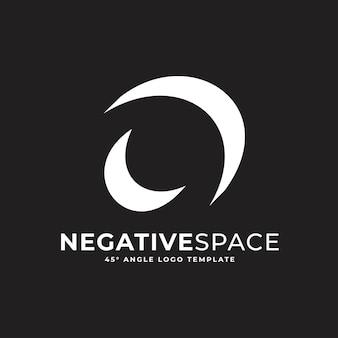 O buchstabe negativer raum geometrisches alphabet markieren logo-vektor-symbol-illustration