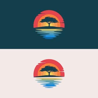 Oaktree silhouette logo design illustration