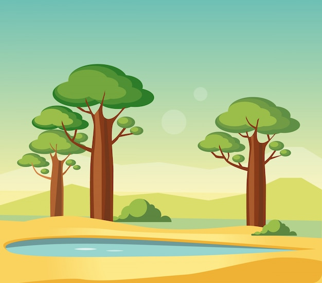 Oase mit affenbrotbäumen
