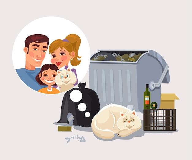 Obdachlose katze erinnern sich an familienkarikaturillustration