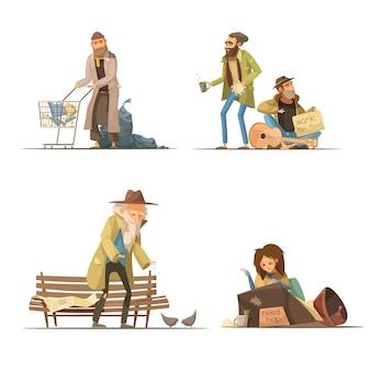 Obdachlose kompositionen mit älterer personenfrau des abfalls