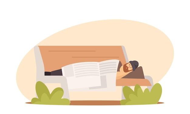 Obdachlose konzept. armer bum männlicher charakter in schmutziger, zerlumpter kleidung, der auf einer bank schläft, die mit zeitung im stadtpark bedeckt ist. betrunkener mann pauper live auf der straße im freien. cartoon-vektor-illustration