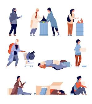 Obdachlose menschen. bettler, armer mann braucht hilfe und nächstenliebe. isolierte cartoon armut schmutzige und hungrige flüchtlinge vektor-illustration. obdachlose und bettler, männerarmut braucht hilfe