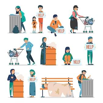 Obdachlose menschen. sammlung von erwachsenen in schmutziger kleidung