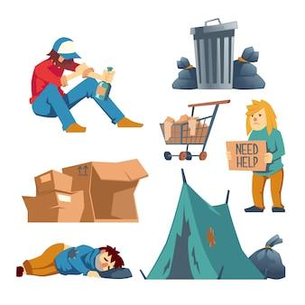 Obdachloser karikatursatz der weiblichen, männlichen charaktere lokalisiert auf weiß