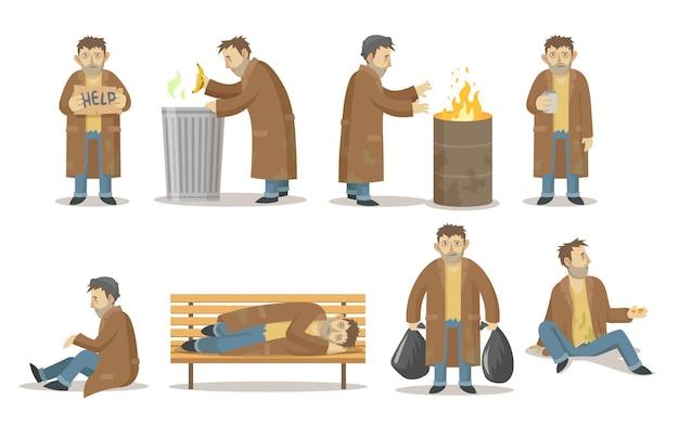 Obdachloser mann in verschiedenen posen sammlung