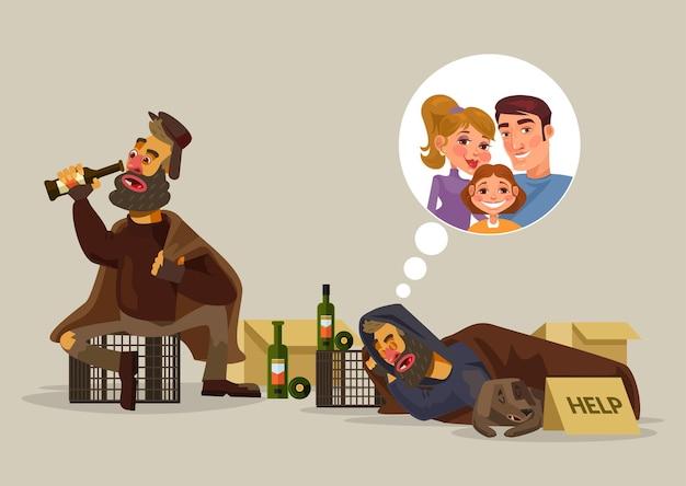 Obdachloser mann träumt von familienkarikaturillustration