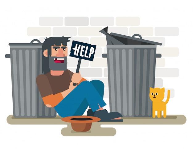 Obdachloser trauriger armer mann sitzt auf dem boden in der nähe von müllcontainern mit hilfeplatte und katzenillustration