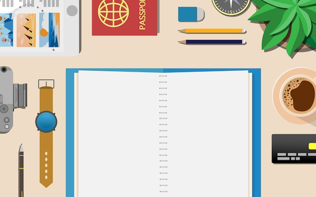 Oben sie flache ansicht des arbeitstischbereichs mit kopienraum auf dem leeren notizbuch oben