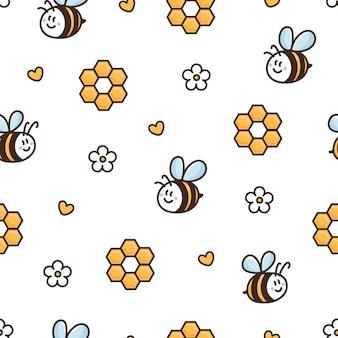 Oberflächenmusterdesign mit honigbienen-gänseblümchen-wabenherz