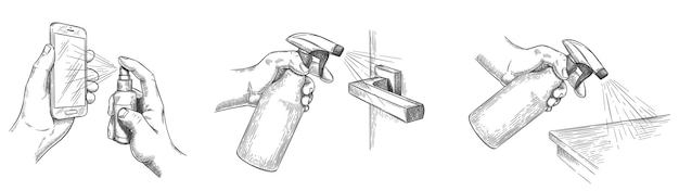 Oberflächenreinigungsskizze. desinfizieren sie hausoberflächen und türgriffe mit desinfektionssprays. hände halten spray und reinigen den telefonbildschirm, vektorsatz. skizze hygiene- und präventionsdesinfektionsillustration